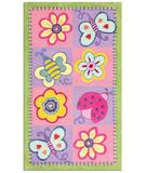 RugStudio presents The Rug Market America Kids Flowers & Butterflies 11705 Green/pink/lavender Hand-Hooked Area Rug